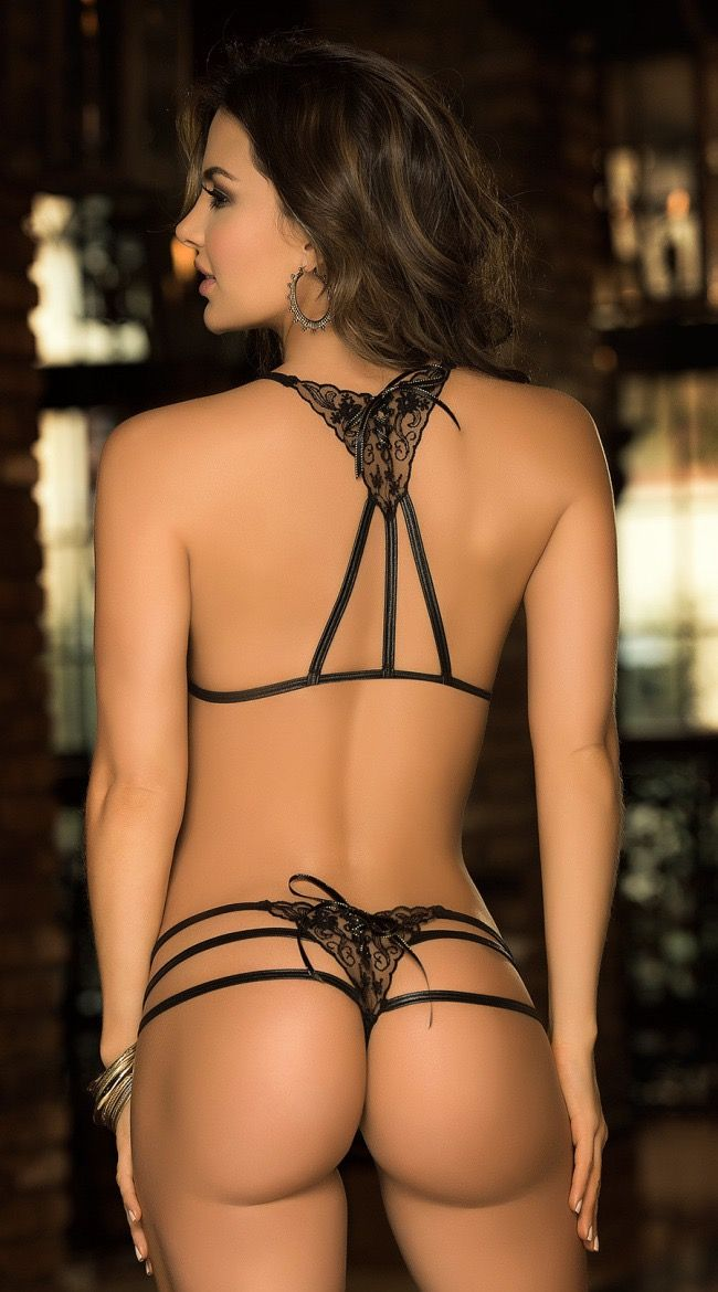 gorgeous lingerie model's back